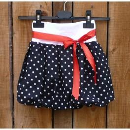 Dětská balon.sukně - černý puntík